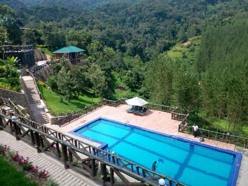 A view of the pool at Rushaga Gorilla Camp or nearby