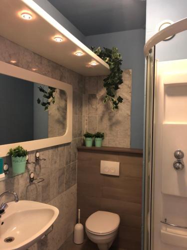 A bathroom at Slapen bij Café de Concurrent