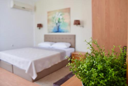 A bed or beds in a room at Family Hotel Apolonia