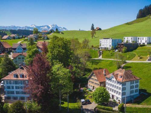 Blick auf Haus zur Rose, St.Gallen, Bodensee, Säntis aus der Vogelperspektive