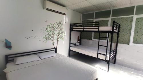 A bunk bed or bunk beds in a room at Secret Garden Coffee & Homestay