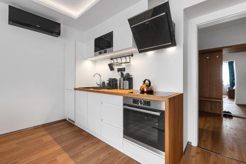Kuchyň nebo kuchyňský kout v ubytování Nový designový apartmán s klimatizací