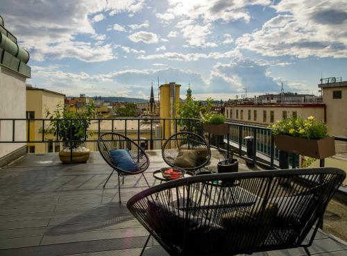 A balcony or terrace at Hotel Planet Prague