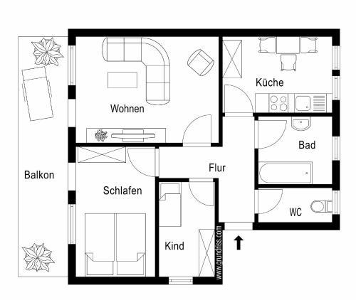 The floor plan of Ferienwohnung Asenberg