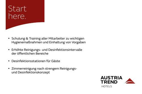 A certificate, award, sign or other document on display at Austria Trend Hotel Ananas Wien