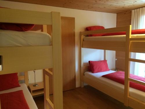 Ein Etagenbett oder Etagenbetten in einem Zimmer der Unterkunft Wäldermetzge Hüttenzimmer