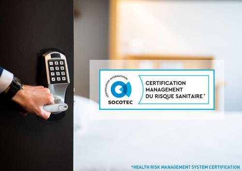 Ein Zertifikat, Auszeichnung, Logo oder anderes Dokument, das in der Unterkunft B&B Hôtel Colmar Expo ausgestellt ist