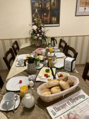 Breakfast options available to guests at Pension Sonja Müller