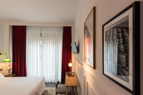 Cama o camas de una habitación en Hotel Trueba