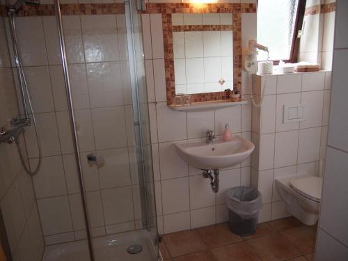 Ein Badezimmer in der Unterkunft Gasthof zur Donaubrücke