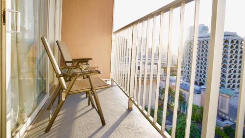 A balcony or terrace at Tropical Studios at Marine Surf Waikiki