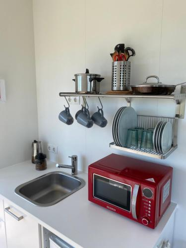 A kitchen or kitchenette at Brú Guesthouse