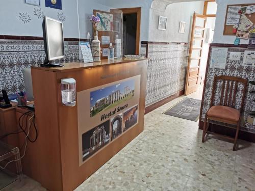 The lobby or reception area at Hostal Senero
