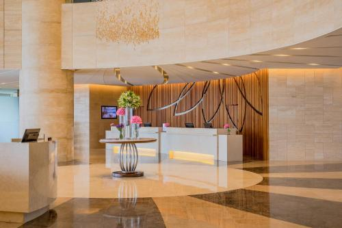The lobby or reception area at Lotte Hotel Yangon