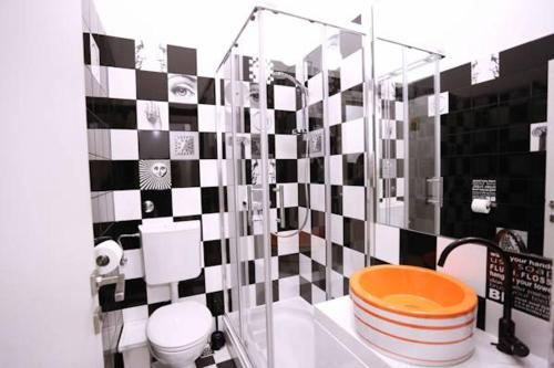 A bathroom at The Rooms