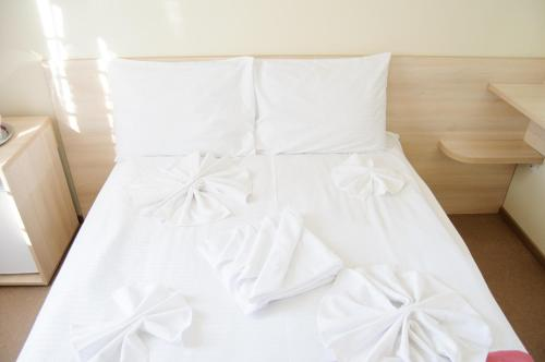 Un pat sau paturi într-o cameră la Hotel Doina