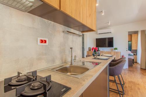 Kuhinja oz. manjša kuhinja v nastanitvi Mobile Homes Lopari