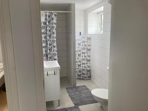 Ett badrum på Hovenäsets Vandrarhem