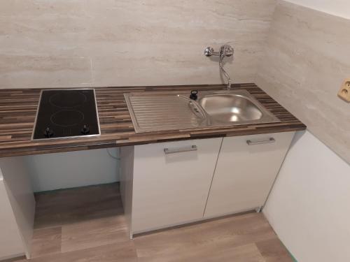 Kuchyň nebo kuchyňský kout v ubytování Stáj Zakšín - špejchar