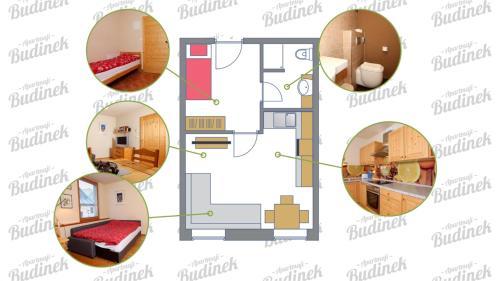 Načrt razporeditve prostorov v nastanitvi Apartments Budinek