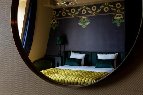 Cama ou camas em um quarto em Hotel Aalders