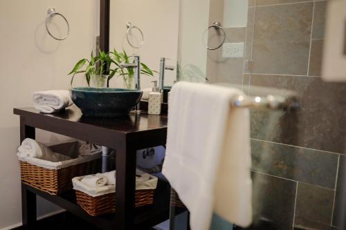 A bathroom at The Golden Frog Inn