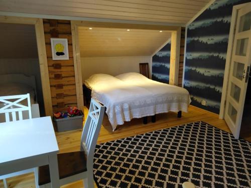 Vuode tai vuoteita majoituspaikassa Tohninmäen Talo