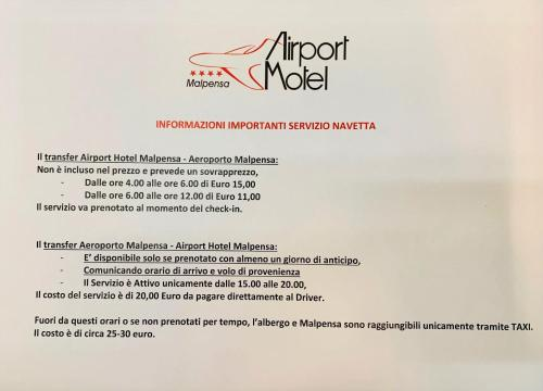 A certificate, award, sign, or other document on display at Airport Hotel Malpensa