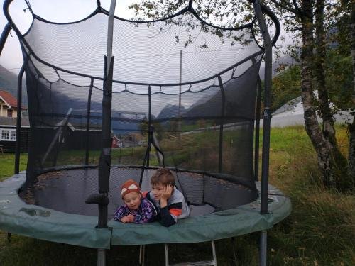 A family staying at Nesset Fjordcamping