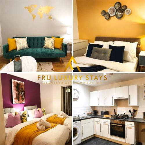 Fru Luxury Stays Serviced Accommodation -CITY STAR- Manchester 2 Bedroom Free Gated Parking & WIFI