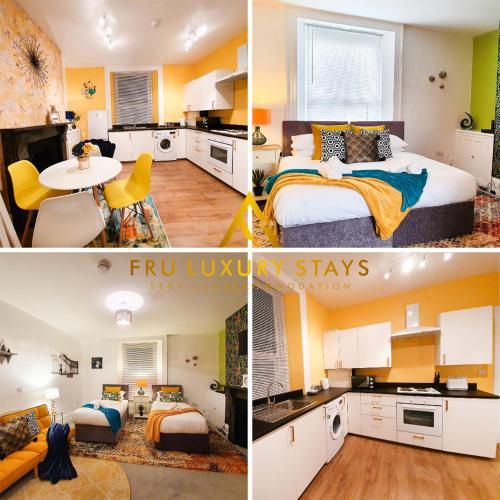 1 Bedroom Apartment -THE MARSEILLE- Up to 3 Guests at Fru Luxury Stays Serviced Accommodation, Plymouth, Free WIFI & Parking