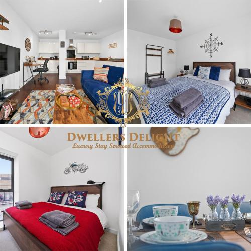 Stevenage Stylish 2 Bedroom Apartment, Upto 5 Guests at Dwellers Delight Luxury Stay Serviced Accommodation, with Free Wifi