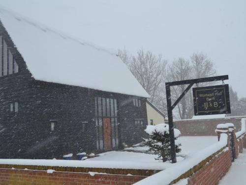 Wortwell Hall Barn during the winter