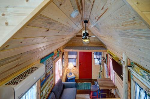 A seating area at Tiny House Leadville Colorado