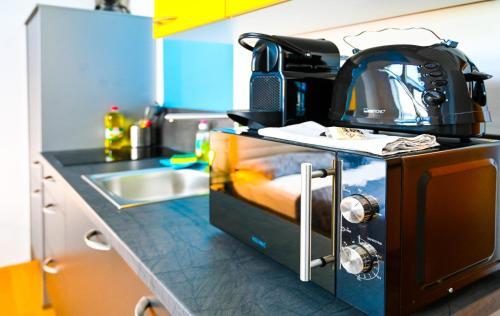 Kuchyň nebo kuchyňský kout v ubytování Backpacker Apartment Schönbrunn
