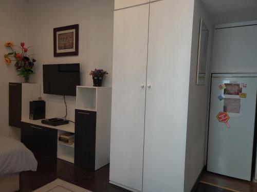 A television and/or entertainment center at Slavija Square Apartment Cvetni Trg