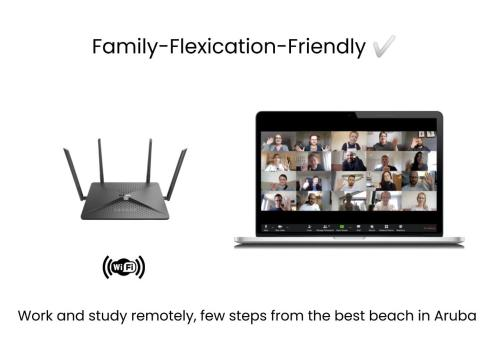 A television and/or entertainment center at Family-Flexication-Friendly Villa, few steps from Eagle Beach
