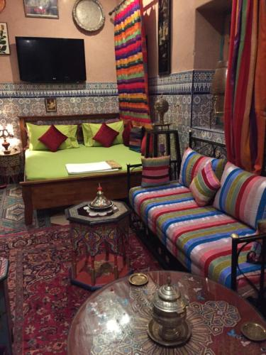 A seating area at ALMARKAB Riad