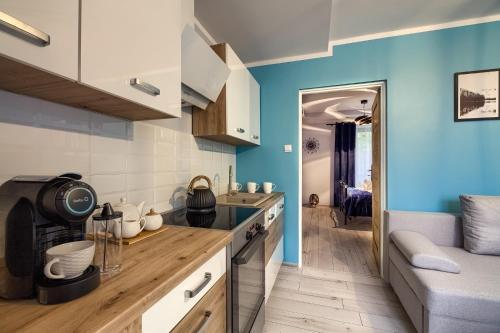 A kitchen or kitchenette at Apartamenty u Romana