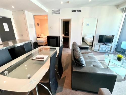 A television and/or entertainment center at Readyset Apartments at Liberty