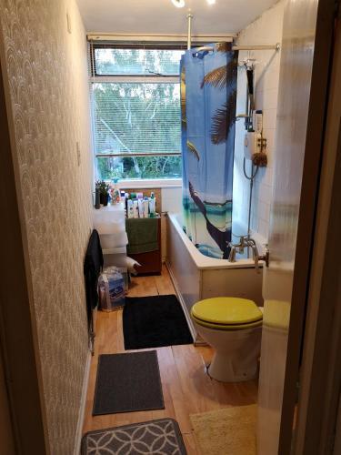 A bathroom at Living room sofa