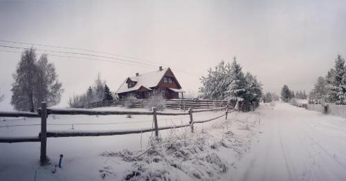 Obiekt Log House Mazury Brajniki zimą