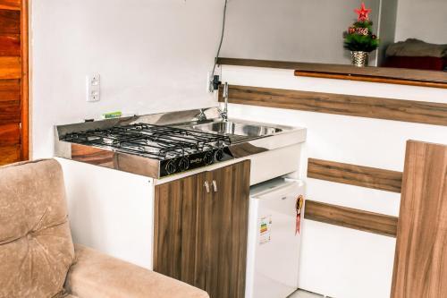 A cozinha ou cozinha compacta de Chales Dos Alpes