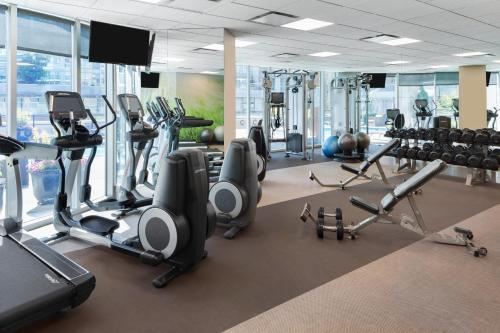 The fitness center and/or fitness facilities at Hilton Vancouver Downtown, BC, Canada
