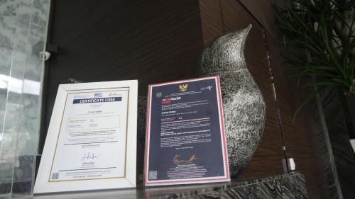 A certificate, award, sign or other document on display at Avissa Suites