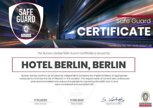 A certificate, award, sign, or other document on display at Hotel Berlin, Berlin