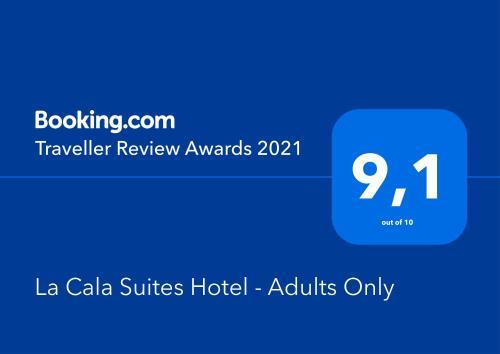 Certificado, premio, señal o documento que está expuesto en La Cala Suites Hotel - Adults Only