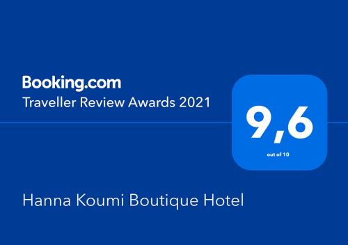 A certificate, award, sign or other document on display at Hanna Koumi Boutique Hotel