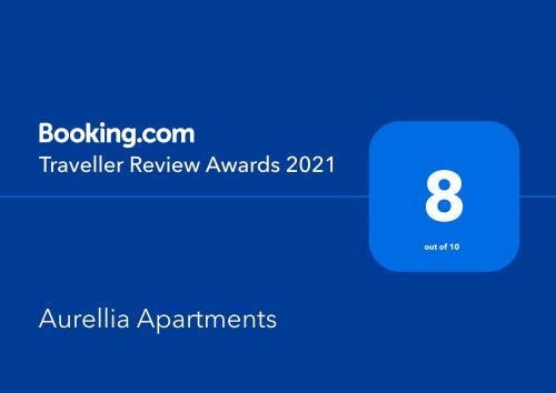 Ein Zertifikat, Auszeichnung, Logo oder anderes Dokument, das in der Unterkunft Aurellia Apartments ausgestellt ist