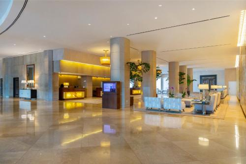 The lobby or reception area at The Beverly Hilton